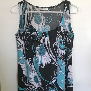 Black with Teal design sleeveless top size Small
